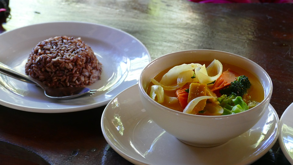 Court Vegetable Curry Red Rice Food Curry Rice